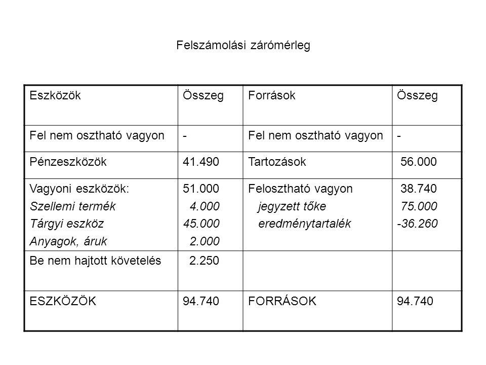 Felszámolási zárómérleg EszközökÖsszegForrásokÖsszeg Fel nem osztható vagyon- - Pénzeszközök41.490Tartozások 56.000 Vagyoni eszközök: Szellemi termék Tárgyi eszköz Anyagok, áruk 51.000 4.000 45.000 2.000 Felosztható vagyon jegyzett tőke eredménytartalék 38.740 75.000 -36.260 Be nem hajtott követelés 2.250 ESZKÖZÖK94.740FORRÁSOK94.740