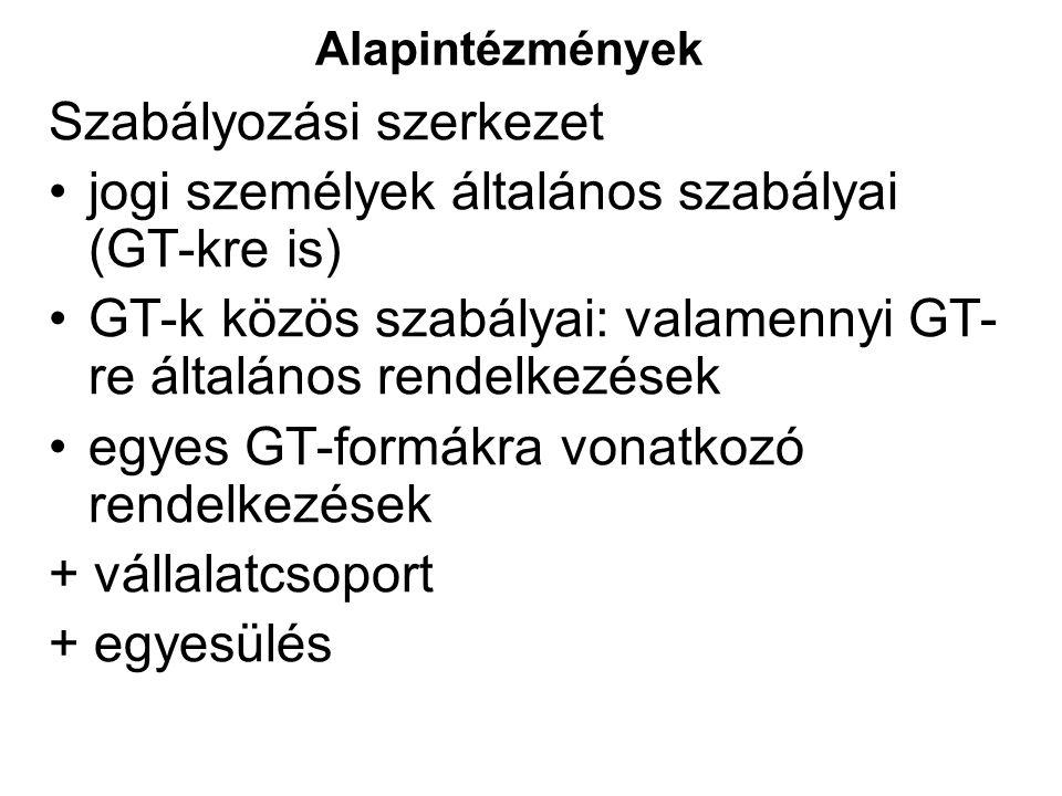 Alapintézmények Szabályozási szerkezet jogi személyek általános szabályai (GT-kre is) GT-k közös szabályai: valamennyi GT- re általános rendelkezések egyes GT-formákra vonatkozó rendelkezések + vállalatcsoport + egyesülés
