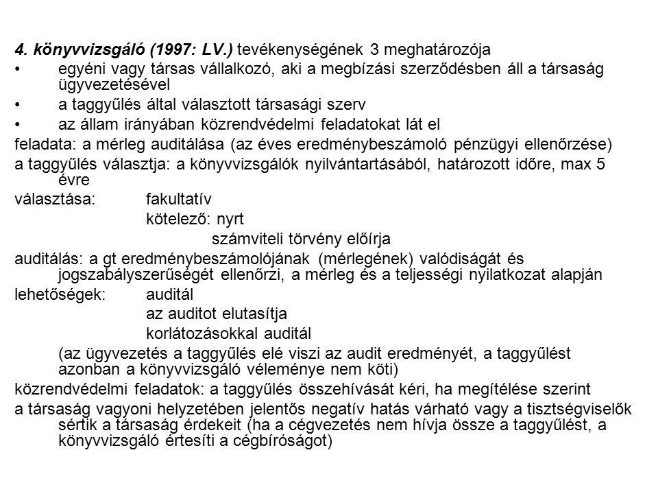 4. könyvvizsgáló (1997: LV.) tevékenységének 3 meghatározója egyéni vagy társas vállalkozó, aki a megbízási szerződésben áll a társaság ügyvezetésével