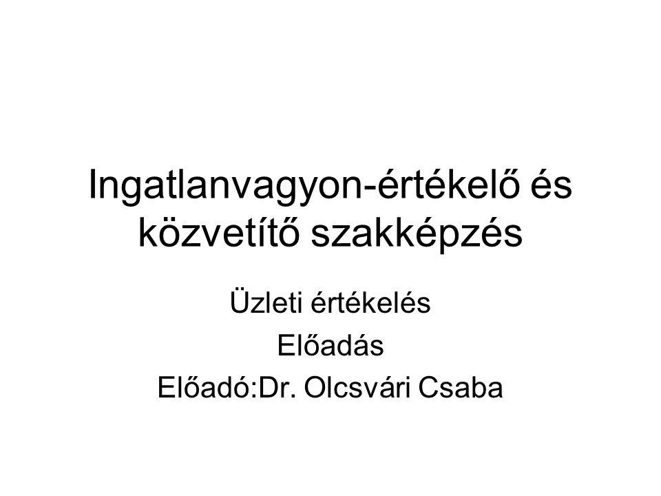 Ingatlanvagyon-értékelő és közvetítő szakképzés Üzleti értékelés Előadás Előadó:Dr. Olcsvári Csaba