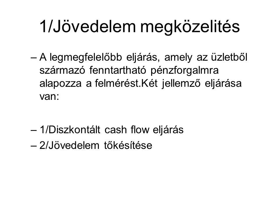 1/Jövedelem megközelités –A legmegfelelőbb eljárás, amely az üzletből származó fenntartható pénzforgalmra alapozza a felmérést.Két jellemző eljárása van: –1/Diszkontált cash flow eljárás –2/Jövedelem tőkésítése