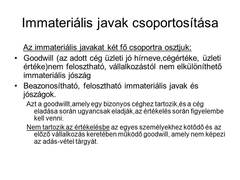 Immateriális javak csoportosítása Az immateriális javakat két fő csoportra osztjuk: Goodwill (az adott cég üzleti jó hírneve,cégértéke, üzleti értéke)nem felosztható, vállalkozástól nem elkülöníthető immateriális jószág Beazonosítható, felosztható immateriális javak és jószágok.