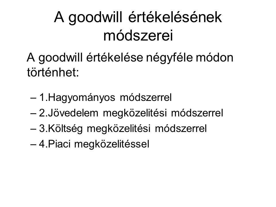 A goodwill értékelésének módszerei A goodwill értékelése négyféle módon történhet: –1.Hagyományos módszerrel –2.Jövedelem megközelitési módszerrel –3.Költség megközelitési módszerrel –4.Piaci megközelitéssel