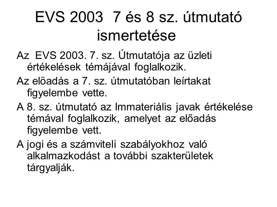 EVS 2003 7 és 8 sz. útmutató ismertetése Az EVS 2003.