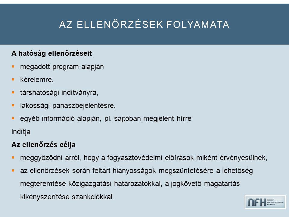 AZ ELLENŐRZÉSEK FOLYAMATA A hatóság ellenőrzéseit  megadott program alapján  kérelemre,  társhatósági indítványra,  lakossági panaszbejelentésre,  egyéb információ alapján, pl.