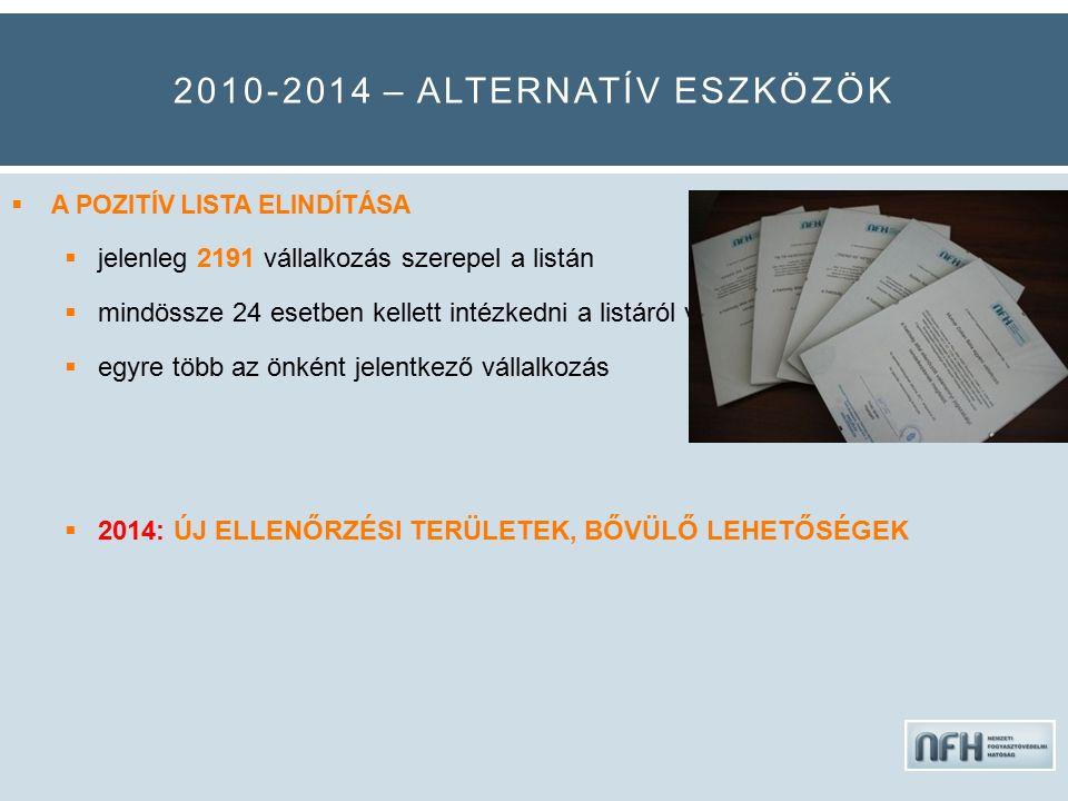 2010-2014 – ALTERNATÍV ESZKÖZÖK  A POZITÍV LISTA ELINDÍTÁSA  jelenleg 2191 vállalkozás szerepel a listán  mindössze 24 esetben kellett intézkedni a listáról való eltávolításról  egyre több az önként jelentkező vállalkozás  2014: ÚJ ELLENŐRZÉSI TERÜLETEK, BŐVÜLŐ LEHETŐSÉGEK