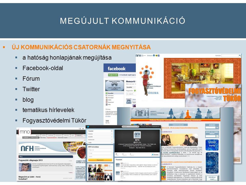 MEGÚJULT KOMMUNIKÁCIÓ  ÚJ KOMMUNIKÁCIÓS CSATORNÁK MEGNYITÁSA  a hatóság honlapjának megújítása  Facebook-oldal  Fórum  Twitter  blog  tematikus hírlevelek  Fogyasztóvédelmi Tükör