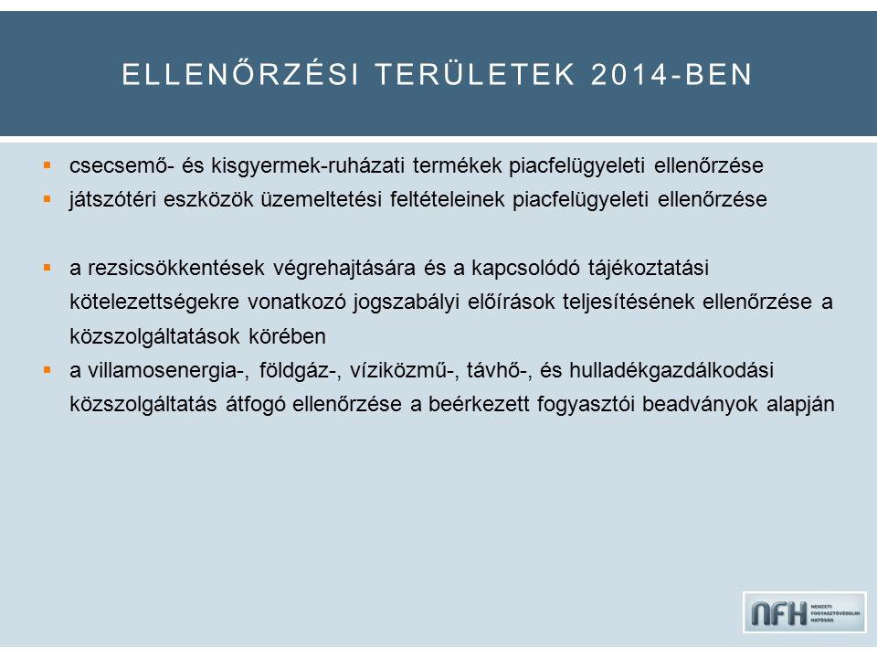 ELLENŐRZÉSI TERÜLETEK 2014-BEN  csecsemő- és kisgyermek-ruházati termékek piacfelügyeleti ellenőrzése  játszótéri eszközök üzemeltetési feltételeinek piacfelügyeleti ellenőrzése  a rezsicsökkentések végrehajtására és a kapcsolódó tájékoztatási kötelezettségekre vonatkozó jogszabályi előírások teljesítésének ellenőrzése a közszolgáltatások körében  a villamosenergia-, földgáz-, víziközmű-, távhő-, és hulladékgazdálkodási közszolgáltatás átfogó ellenőrzése a beérkezett fogyasztói beadványok alapján