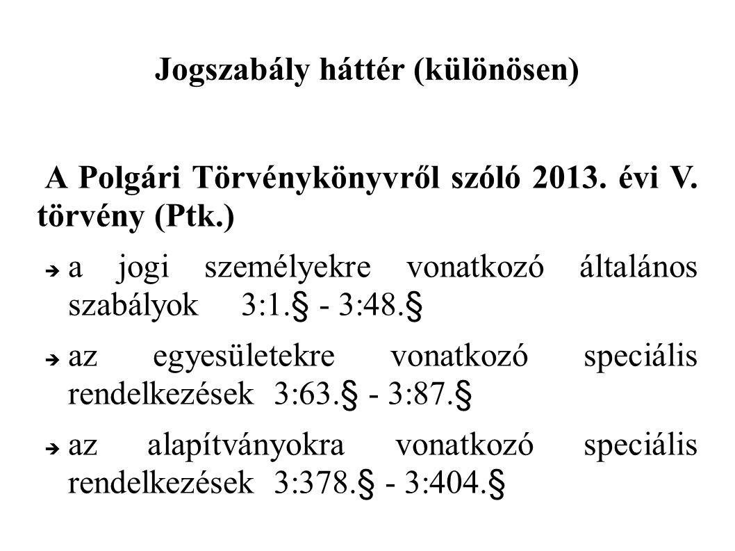 Jogszabály háttér (különösen) A Polgári Törvénykönyvről szóló 2013.