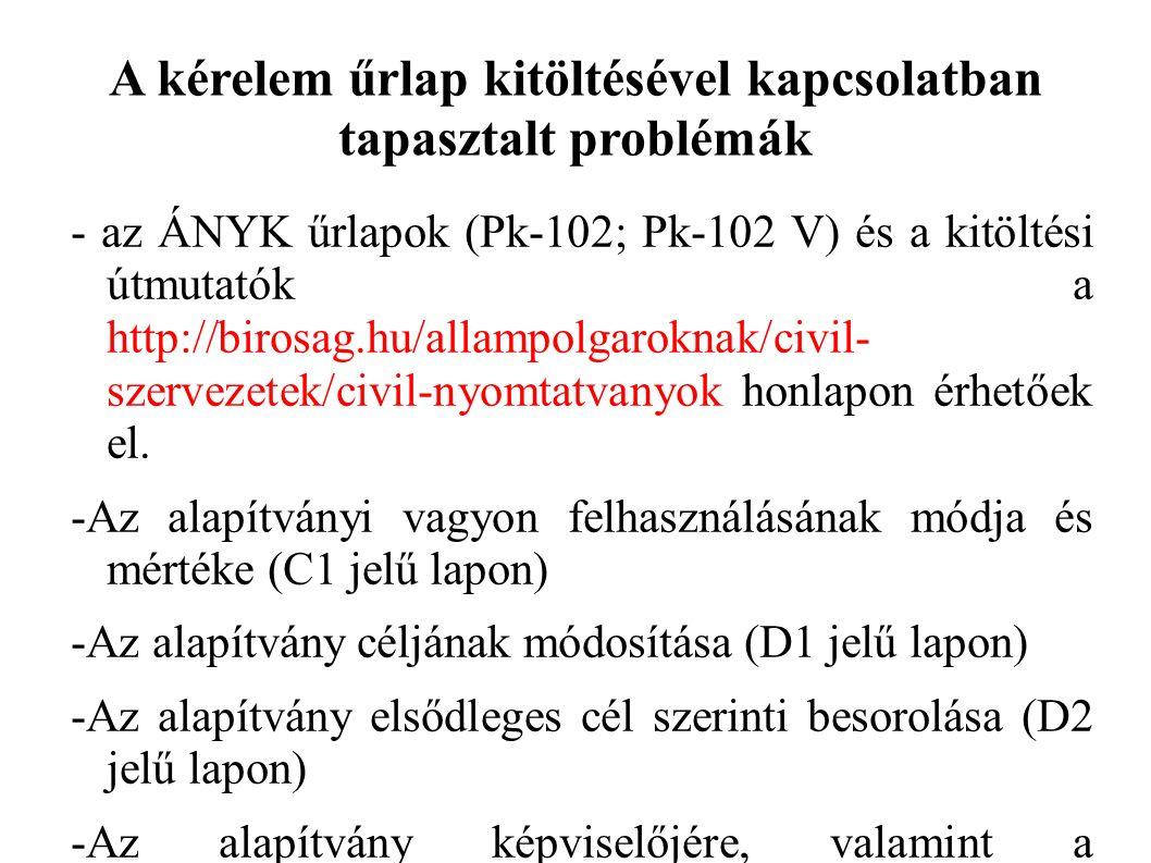 A kérelem űrlap kitöltésével kapcsolatban tapasztalt problémák - az ÁNYK űrlapok (Pk-102; Pk-102 V) és a kitöltési útmutatók a http://birosag.hu/allampolgaroknak/civil- szervezetek/civil-nyomtatvanyok honlapon érhetőek el.