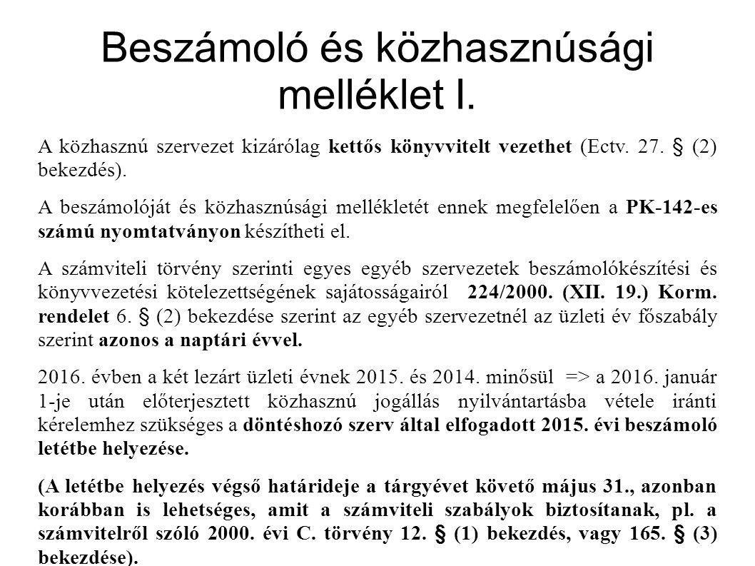 Beszámoló és közhasznúsági melléklet I.