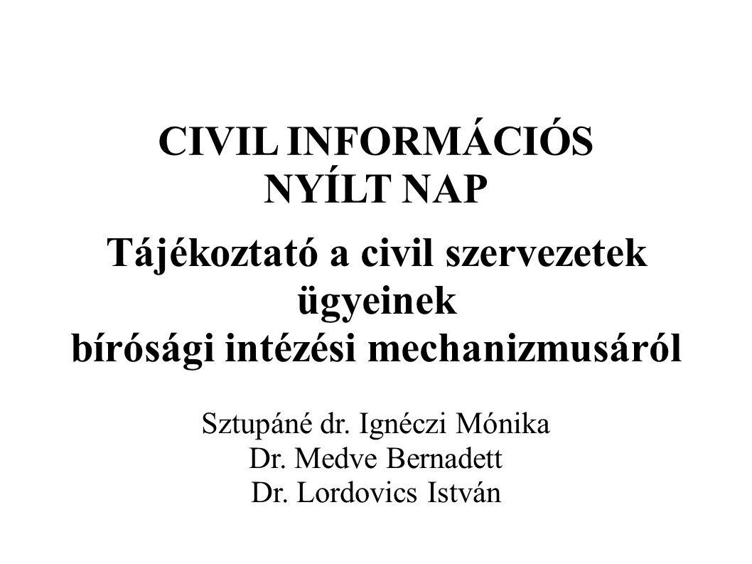 CIVIL INFORMÁCIÓS NYÍLT NAP Tájékoztató a civil szervezetek ügyeinek bírósági intézési mechanizmusáról Sztupáné dr.