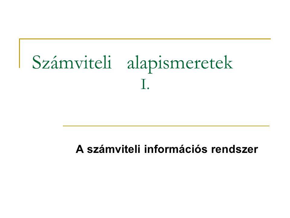 Számviteli alapismeretek I. A számviteli információs rendszer