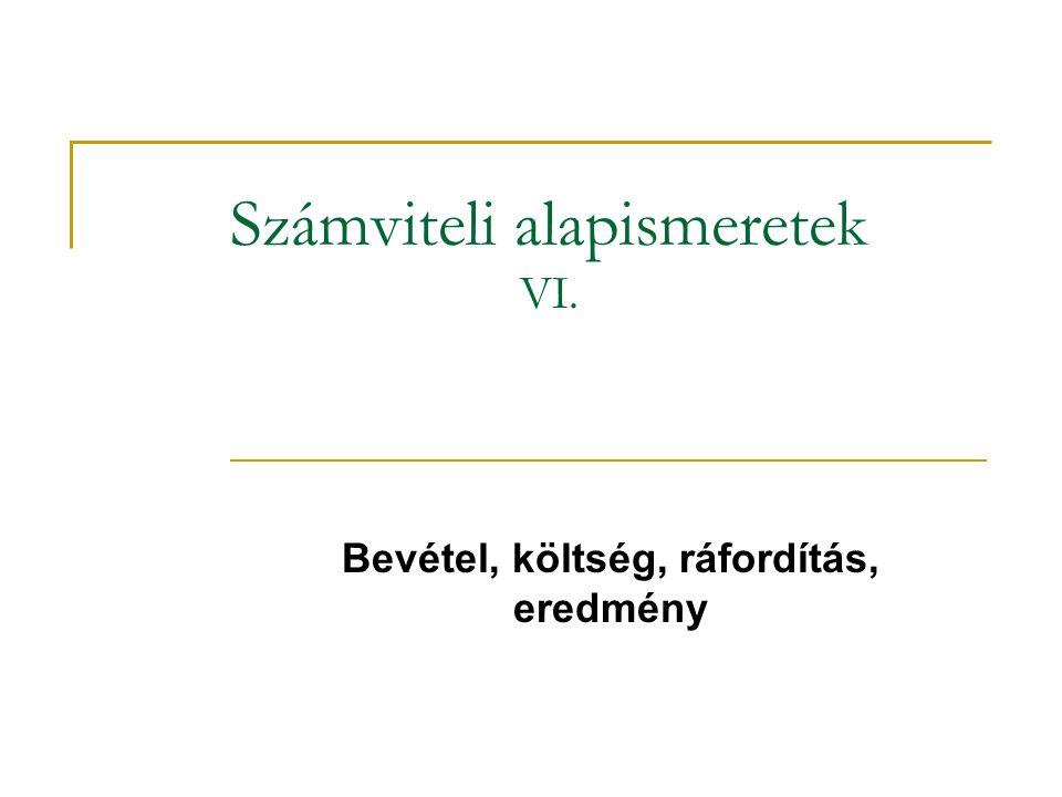Számviteli alapismeretek VI. Bevétel, költség, ráfordítás, eredmény