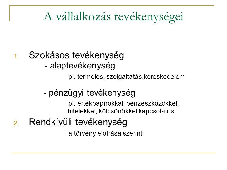 A vállalkozás tevékenységei 1. Szokásos tevékenység - alaptevékenység pl.