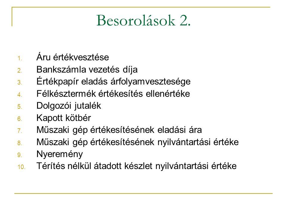 Besorolások 2. 1. Áru értékvesztése 2. Bankszámla vezetés díja 3.