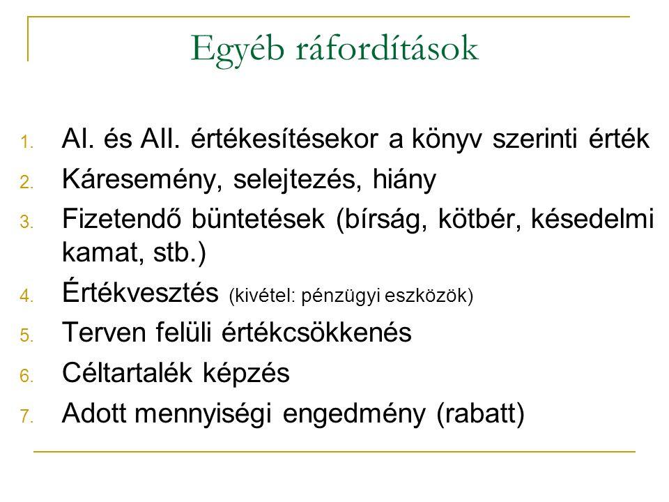Egyéb ráfordítások 1. AI. és AII. értékesítésekor a könyv szerinti érték 2.