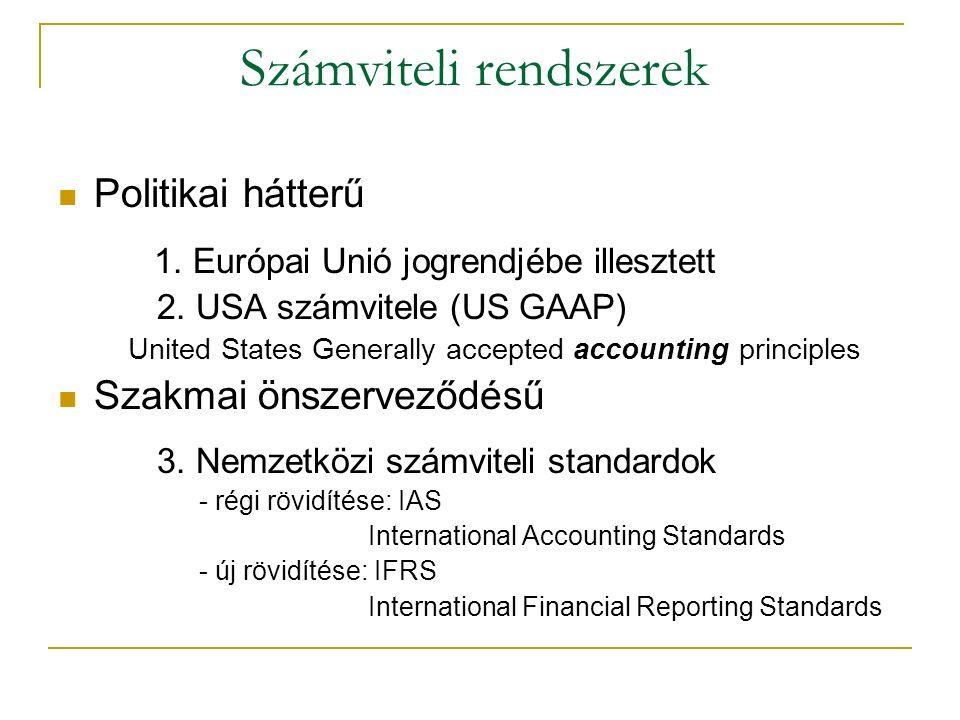 Számviteli rendszerek Politikai hátterű 1. Európai Unió jogrendjébe illesztett 2.