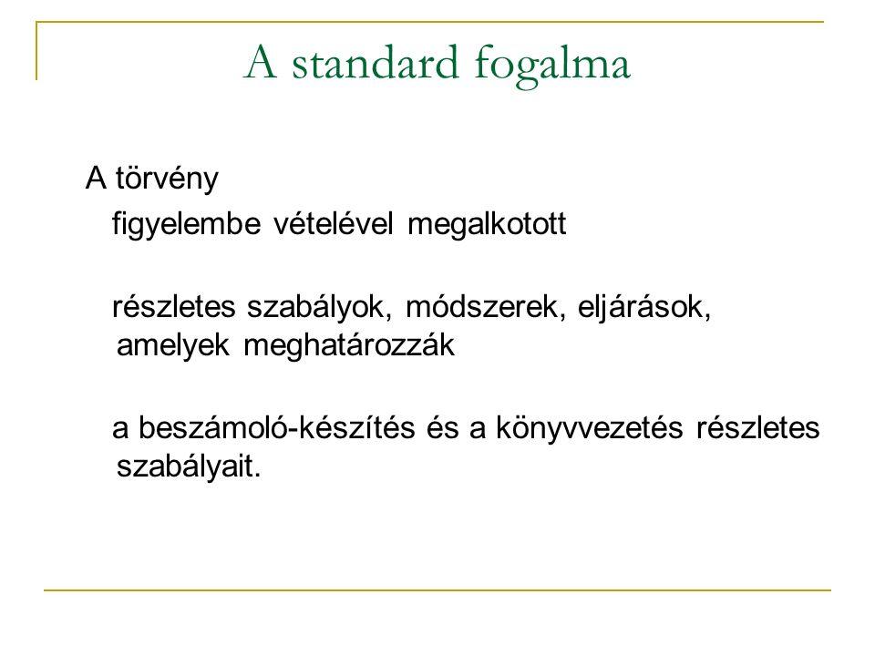 A standard fogalma A törvény figyelembe vételével megalkotott részletes szabályok, módszerek, eljárások, amelyek meghatározzák a beszámoló-készítés és a könyvvezetés részletes szabályait.