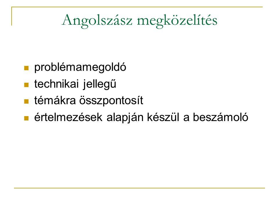 Angolszász megközelítés problémamegoldó technikai jellegű témákra összpontosít értelmezések alapján készül a beszámoló