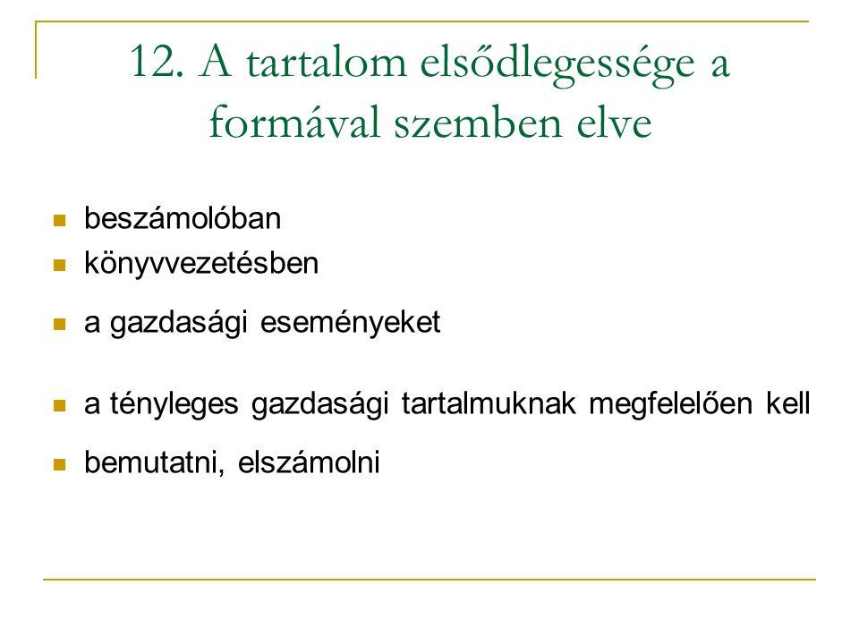 12. A tartalom elsődlegessége a formával szemben elve beszámolóban könyvvezetésben a gazdasági eseményeket a tényleges gazdasági tartalmuknak megfelel