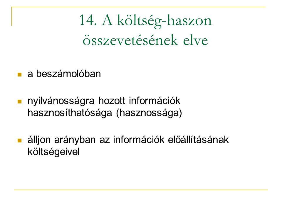 14. A költség-haszon összevetésének elve a beszámolóban nyilvánosságra hozott információk hasznosíthatósága (hasznossága) álljon arányban az informáci