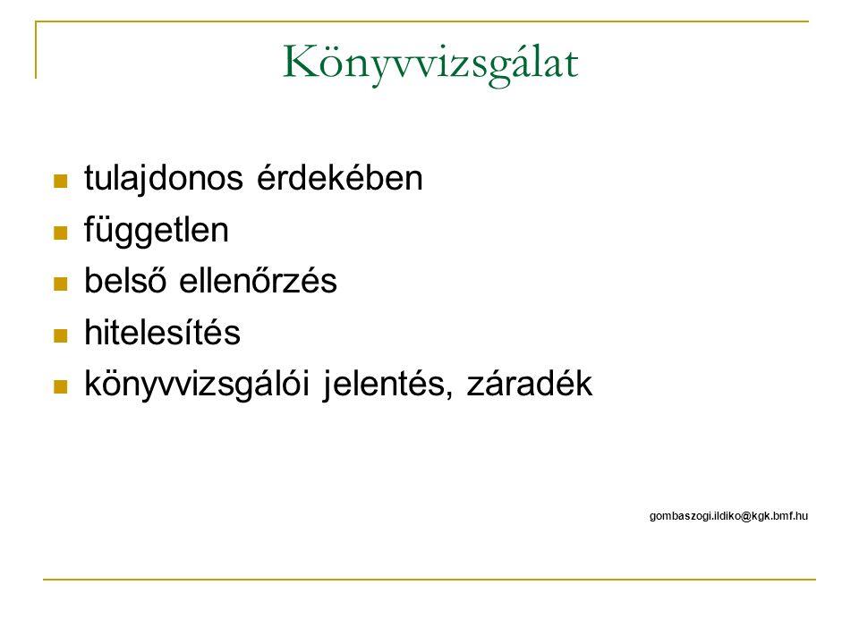 Könyvvizsgálat tulajdonos érdekében független belső ellenőrzés hitelesítés könyvvizsgálói jelentés, záradék gombaszogi.ildiko@kgk.bmf.hu
