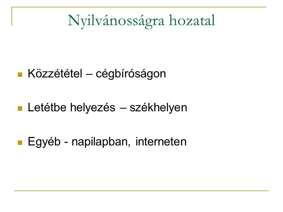 Nyilvánosságra hozatal Közzététel – cégbíróságon Letétbe helyezés – székhelyen Egyéb - napilapban, interneten