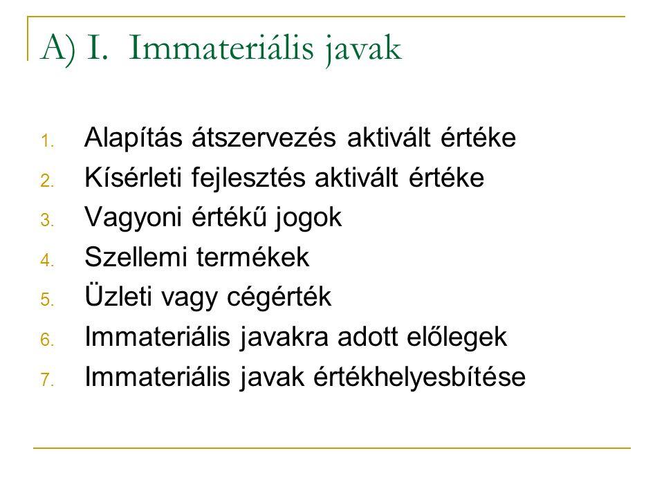 A) I. Immateriális javak 1. Alapítás átszervezés aktivált értéke 2.