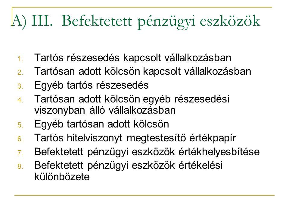 A) III. Befektetett pénzügyi eszközök 1. Tartós részesedés kapcsolt vállalkozásban 2.
