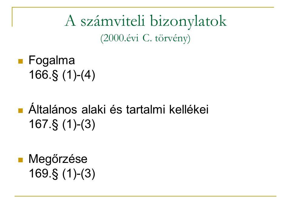 A számviteli bizonylatok (2000.évi C.