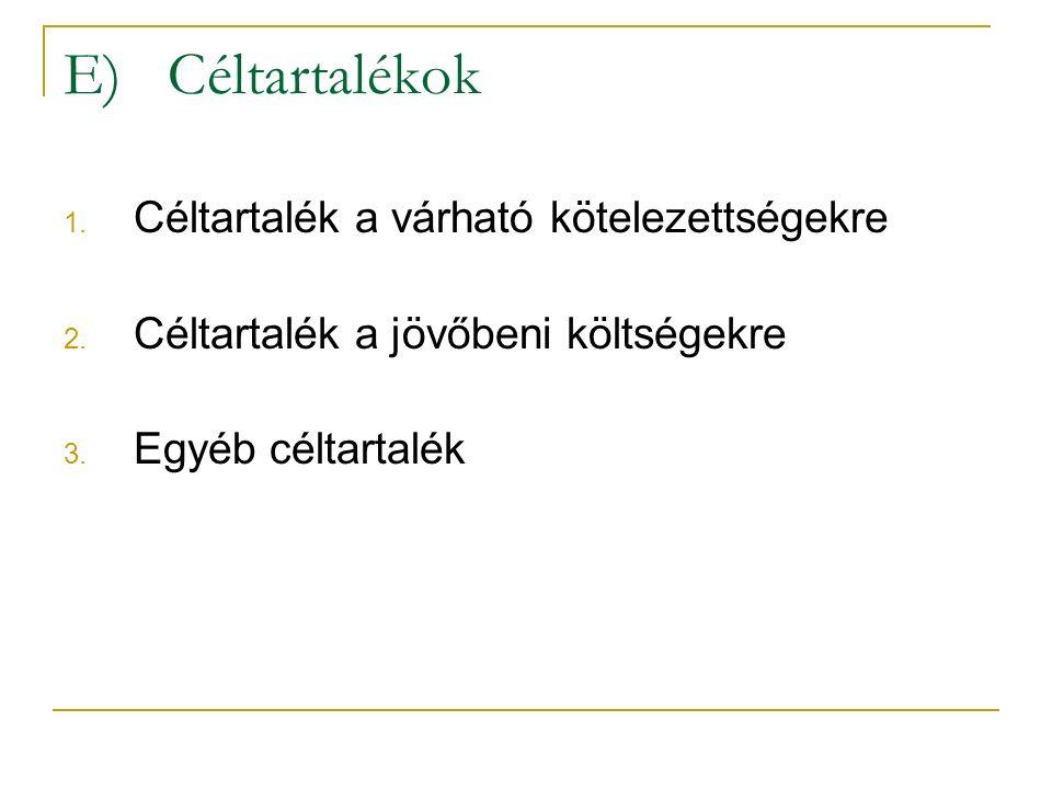 E) Céltartalékok 1. Céltartalék a várható kötelezettségekre 2.
