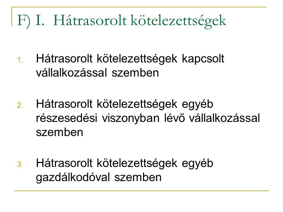 F) I. Hátrasorolt kötelezettségek 1.