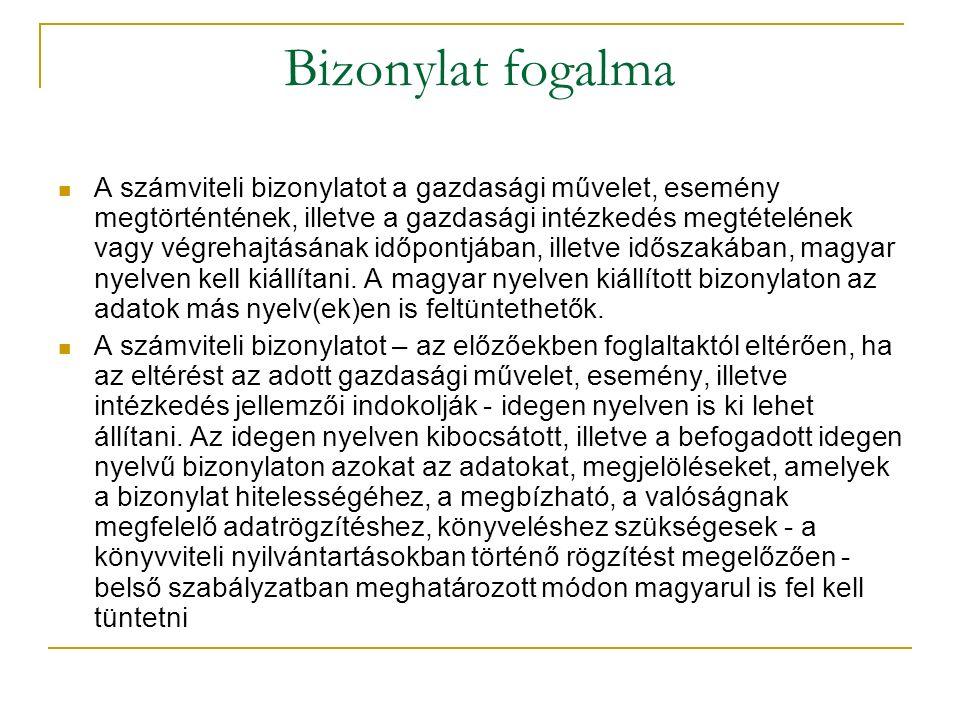 Bizonylat fogalma A számviteli bizonylatot a gazdasági művelet, esemény megtörténtének, illetve a gazdasági intézkedés megtételének vagy végrehajtásának időpontjában, illetve időszakában, magyar nyelven kell kiállítani.