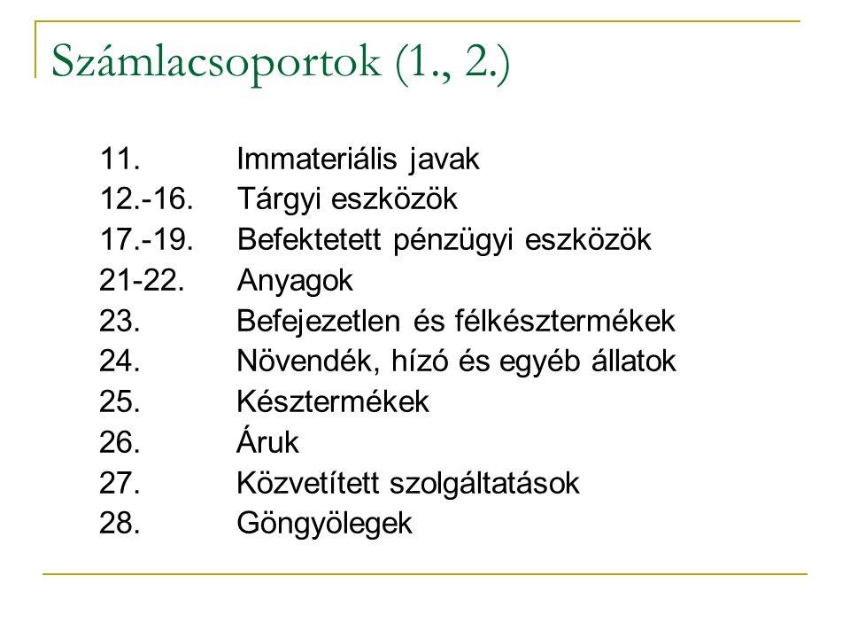 Számlacsoportok (1., 2.) 11. Immateriális javak 12.-16.