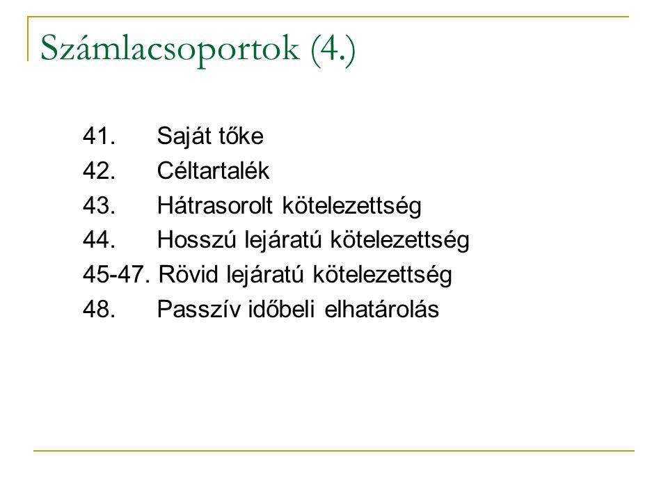 Számlacsoportok (4.) 41. Saját tőke 42. Céltartalék 43.