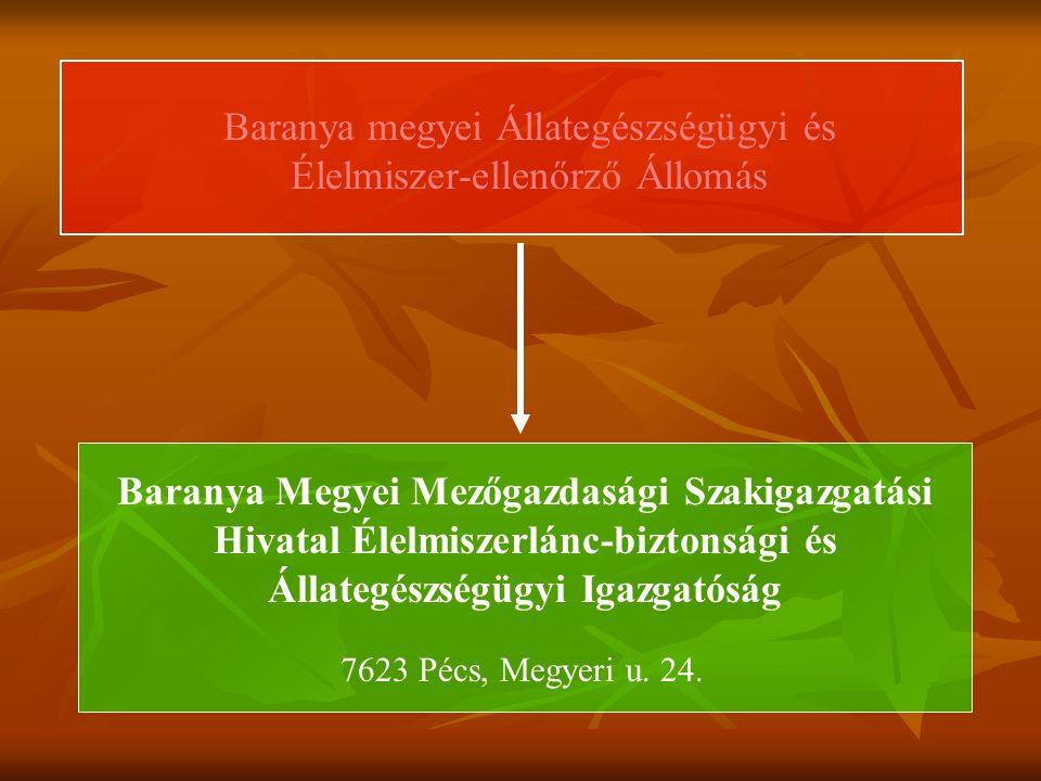 Baranya megyei Állategészségügyi és Élelmiszer-ellenőrző Állomás 7623 Pécs, Megyeri u.