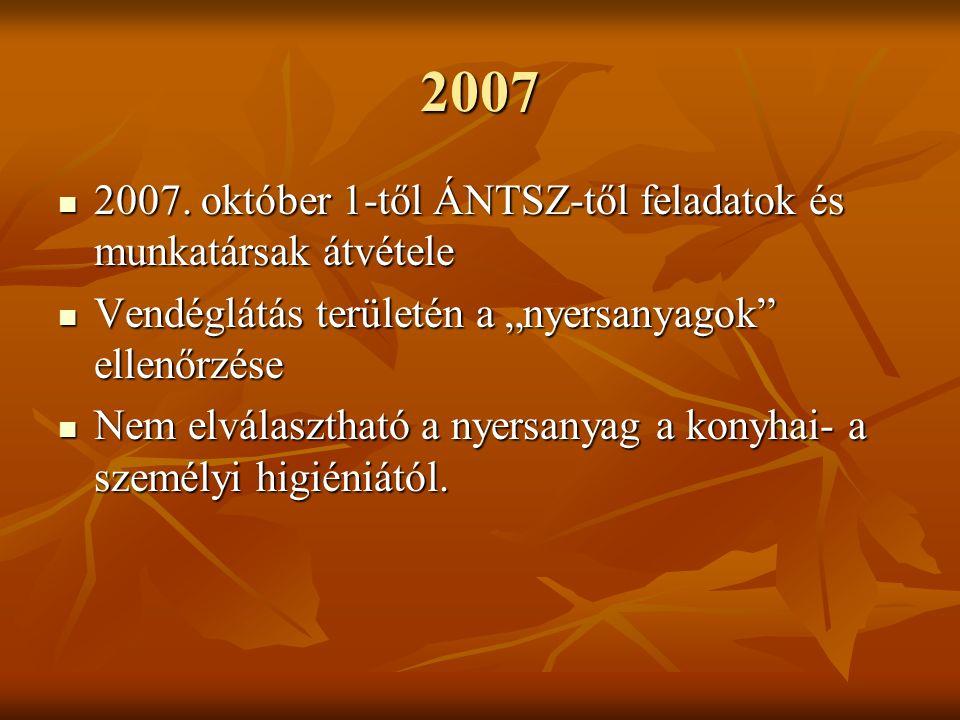 2007 2007. október 1-től ÁNTSZ-től feladatok és munkatársak átvétele 2007.