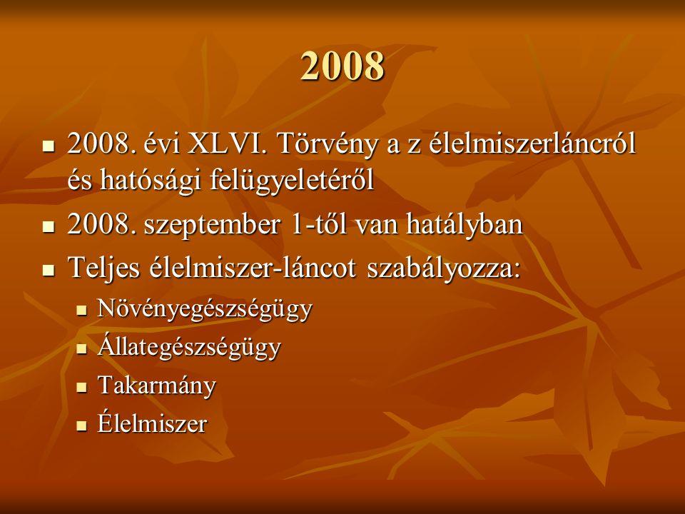 2008 2008.évi XLVI. Törvény a z élelmiszerláncról és hatósági felügyeletéről 2008.