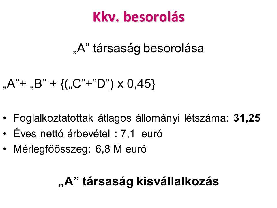 """Kkv. besorolás """"A"""" társaság besorolása """"A""""+ """"B"""" + {(""""C""""+""""D"""") x 0,45} Foglalkoztatottak átlagos állományi létszáma: 31,25 Éves nettó árbevétel : 7,1 eu"""