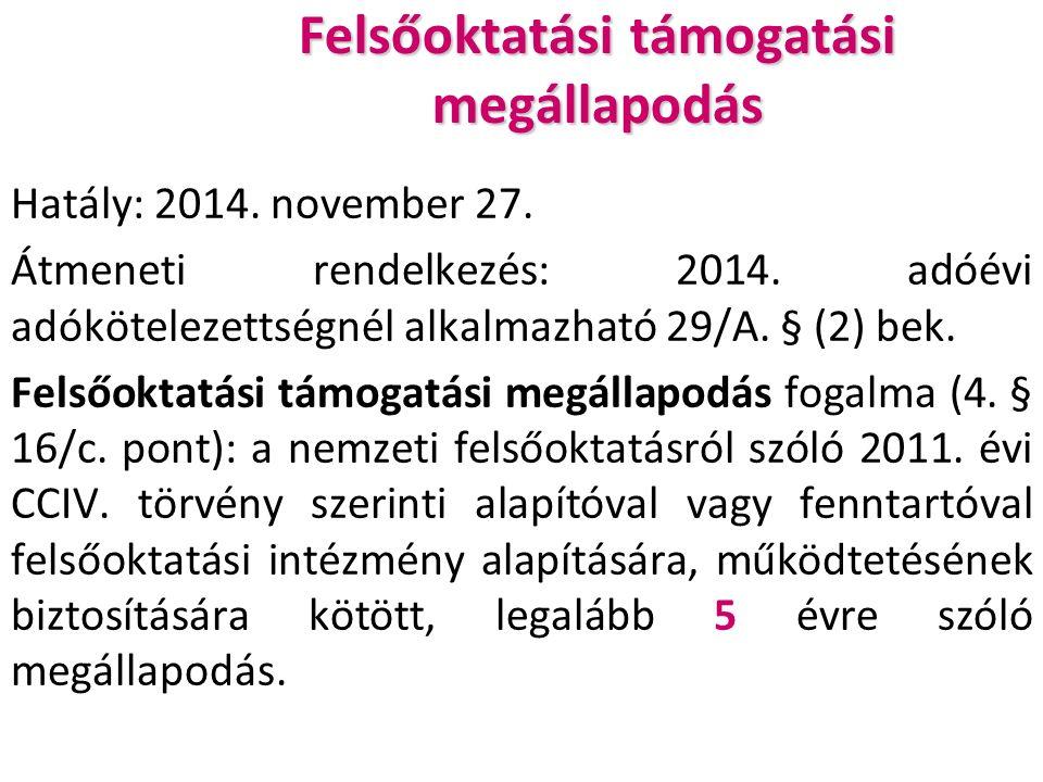 Felsőoktatási támogatási megállapodás Hatály: 2014.