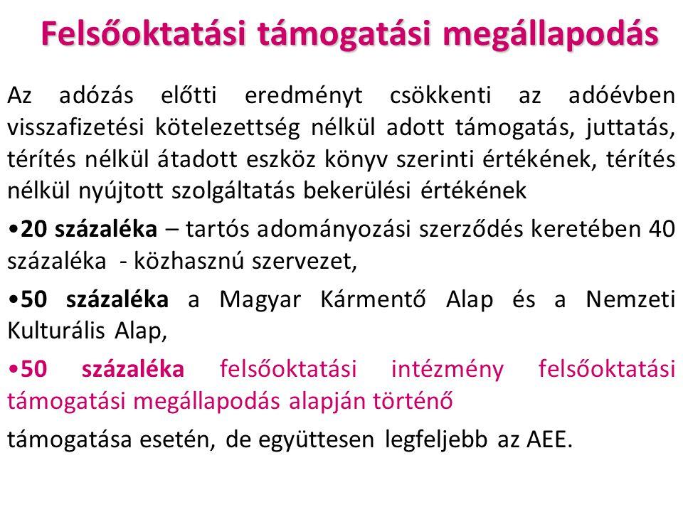 Felsőoktatási támogatási megállapodás Az adózás előtti eredményt csökkenti az adóévben visszafizetési kötelezettség nélkül adott támogatás, juttatás, térítés nélkül átadott eszköz könyv szerinti értékének, térítés nélkül nyújtott szolgáltatás bekerülési értékének 20 százaléka – tartós adományozási szerződés keretében 40 százaléka - közhasznú szervezet, 50 százaléka a Magyar Kármentő Alap és a Nemzeti Kulturális Alap, 50 százaléka felsőoktatási intézmény felsőoktatási támogatási megállapodás alapján történő támogatása esetén, de együttesen legfeljebb az AEE.