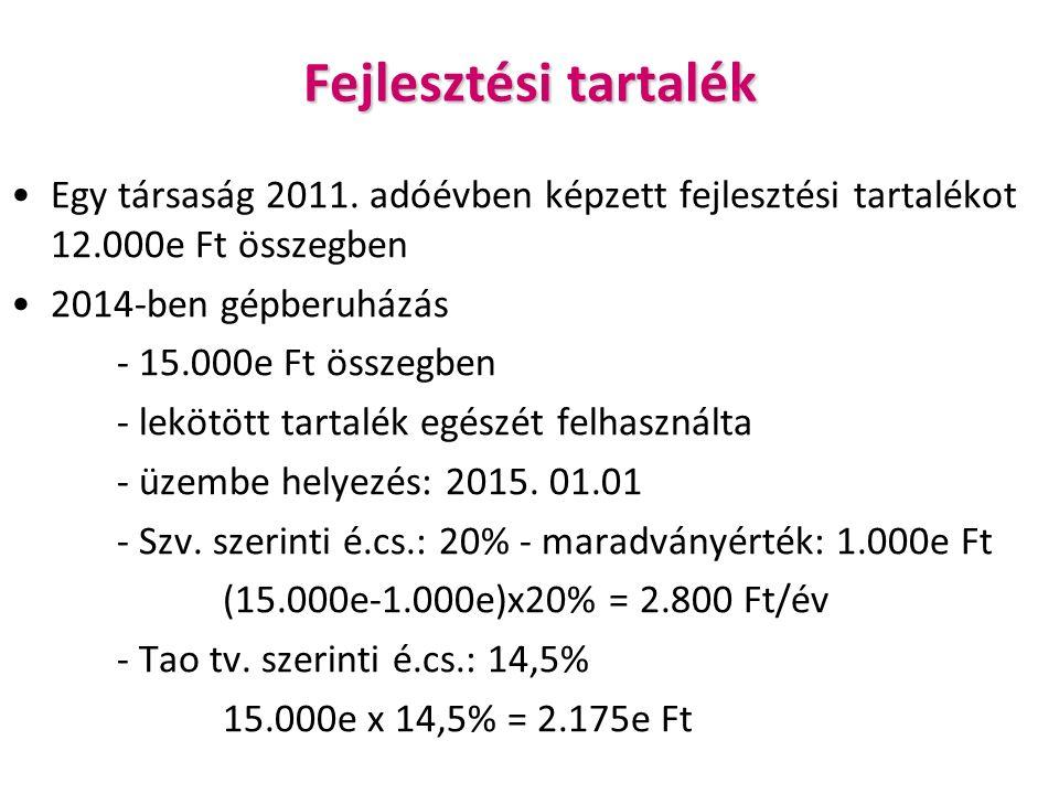 Fejlesztési tartalék Egy társaság 2011.