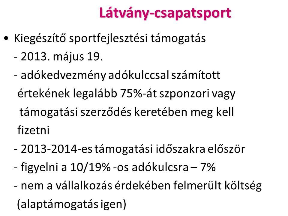 Látvány-csapatsport Kiegészítő sportfejlesztési támogatás - 2013.