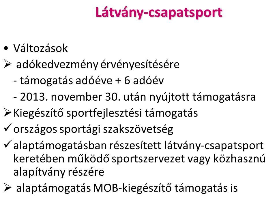 Látvány-csapatsport Változások  adókedvezmény érvényesítésére - támogatás adóéve + 6 adóév - 2013.