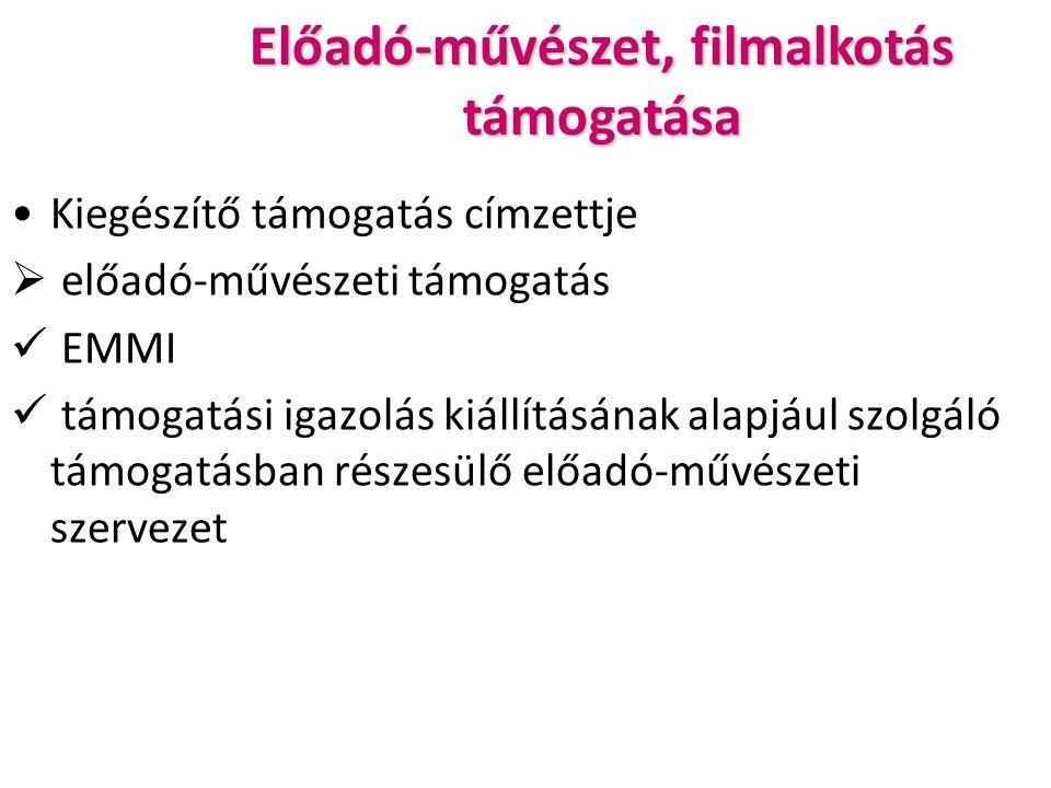 Előadó-művészet, filmalkotás támogatása Kiegészítő támogatás címzettje  előadó-művészeti támogatás EMMI támogatási igazolás kiállításának alapjául szolgáló támogatásban részesülő előadó-művészeti szervezet