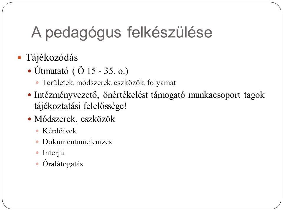 A pedagógus felkészülése Tájékozódás Útmutató ( Ö 15 - 35. o.) Területek, módszerek, eszközök, folyamat Intézményvezető, önértékelést támogató munkacs