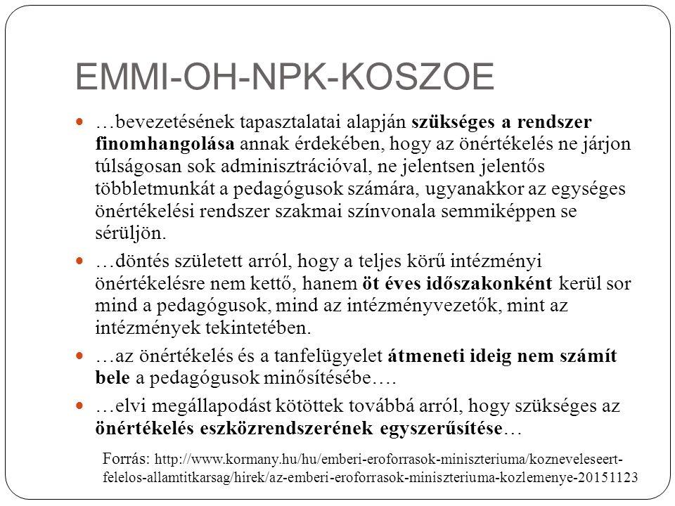 EMMI-OH-NPK-KOSZOE …bevezetésének tapasztalatai alapján szükséges a rendszer finomhangolása annak érdekében, hogy az önértékelés ne járjon túlságosan sok adminisztrációval, ne jelentsen jelentős többletmunkát a pedagógusok számára, ugyanakkor az egységes önértékelési rendszer szakmai színvonala semmiképpen se sérüljön.