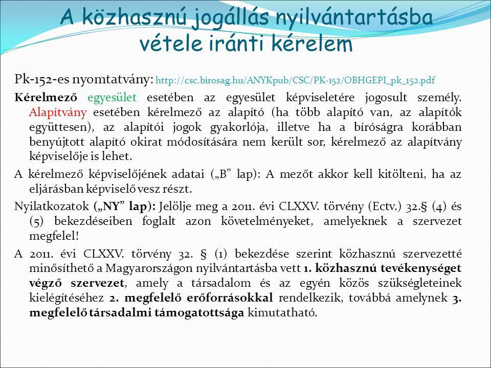 Pk-152-es nyomtatvány: http://csc.birosag.hu/ANYKpub/CSC/PK-152/OBHGEPI_pk_152.pdf Kérelmező egyesület esetében az egyesület képviseletére jogosult sz