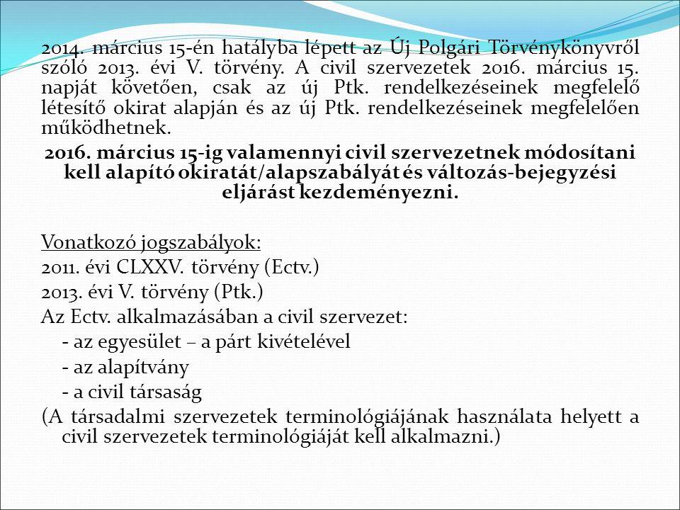 2014. március 15-én hatályba lépett az Új Polgári Törvénykönyvről szóló 2013. évi V. törvény. A civil szervezetek 2016. március 15. napját követően, c